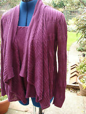FENN WRIGHT MANSON SIZE 10/ S  PURPLE LINEN WATERFALL CARDIGAN WITH FIXED INSERT