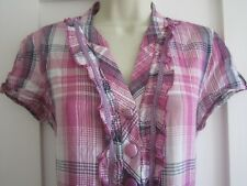 Ladies size 14 M&Co grape pink white black tartan check mix summer top short sle