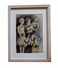1937 Marcel Prunier Dessin original aquarelle et gouache Deux jeunes filles