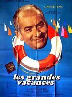 Affiche 120x160cm LES GRANDES VACANCES (1967) Louis, Olivier De Funès TBE #
