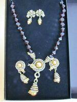 Heidi Daus Captivating Coil Topaz Snake Bronzetone Necklace Earring SET