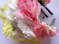 Women Girl BIG Flower Party Wedding Bride Tiara Crown hair headband Garland hoop