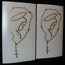 """2 *MARY with ROSARY Catholic 5"""" Gold Decals for Cars, Windows, or Wherever"""