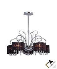 3 Lámparas Moderno Araña de Cristal Negro/Cromado Pantalla Tela Led Luces