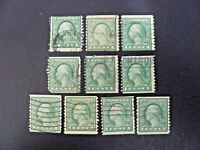 USA Lot of 10 Wash-Franklin 1916-22 Issue #490 Used - See Description & Images