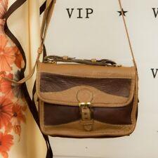 Vintage 2 tone brown leather satchel shoulder messenger bag