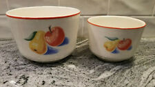 "2 Harker Pottery APPLES & PEARS MIXING / SERVING Nesting BOWLS 6"" Wide & 5"" Wide"