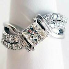 Stylish White Sapphire Ring Jewelry 925 Silver Wedding Rings For Women Girls