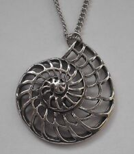 Chain Necklace #1522 Pewter CHAMBER SEA SHELL (32mm x 28mm) FILIGREE