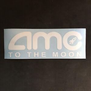 "AMC To The Moon! White Decal Bumper Sticker Gorilla Gang Ape Nation! 2.5""x7"""