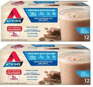 Atkins Low Carb Shake, Milk Chocolate Delight (2 x 12) = 24 ct, Keto, Paleo ✔️✔