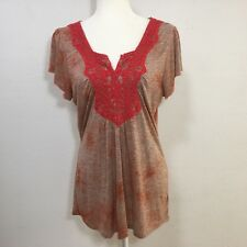 Live & Let Live Womans short sleeve boho style shirt with lace on front, Medium