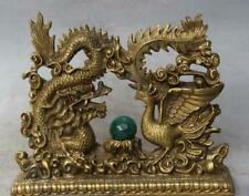 Chinese Brass Fengshui Emperor Royalty Dragon Phoenix Sculpture Statue