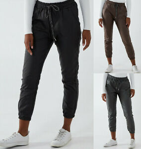 Ladies Womens Faux Leather PU Magic Trousers Pants Joggers Stretchy Italian