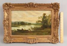 Antique E R Biddle English Impressionist Looe River Landscape Fisherman Painting