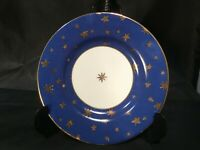 "GALAXY SAKURA SAUCER PLATE FINE CHINA REAL GOLD STARS ON BLUE 6-1/8"" DIAMETER"