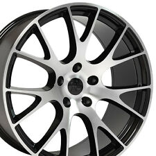20x9 Hellcat Style Black Machined Wheels For Dodge Challenger Charger SRT8 Rims