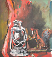 VINTAGE GOUACHE PAINTING EXPRESSIONIST STILL LIFE WITH GAS LAMP AND FIGURINE