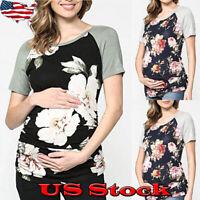 Summer Pregnant Women Floral Print Patchwork Maternity Tops Short Sleeve T-Shirt