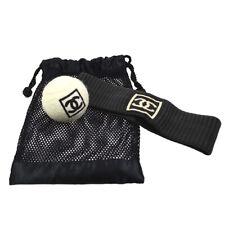 Rare! Chanel Cc Sports Tennis Ball Headband Set White Black Authentic 36727