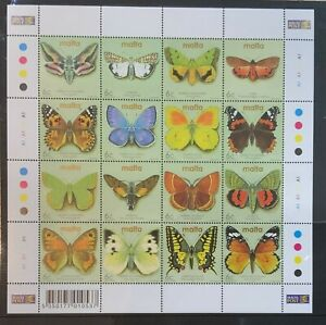 Malta 2002 Moths and Butterflies Insects Fauna Stamp Sheetlet