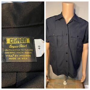 Vintage Clifton Super Shirt police uniform sheriff Made in USA size 40 BLACK vtg