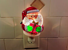 Night Light Santa Claus with Package Water Filled Glitter Globe Swirling Water