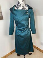 Vera Mont Emerald Green Size 12 Stretchy Satin Taffeta Jeweled Dress Ruched