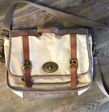 Fossil ~ Cream Canvas Vintage Reissue Messenger Bag ~ Crossbody ~ White Leather