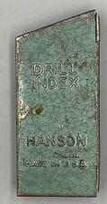 Vintage Hanson 13 Piece Drill Bit Index in Green Metal Case Made in USA