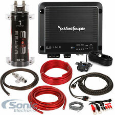 Rockford Fosgate R500X1D 500W Class D Car Amplifier + Amp Wiring Kit & Capacitor