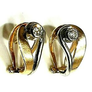 STUNNING 18ct YELLOW & WHITE GOLD 0.20ct DIAMOND EARRINGS FOR PIERCED EARS