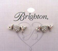 Brighton JOY Mini Post Earrings silverheart- crystals -word Joy -Christmas