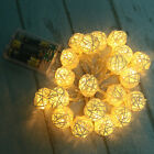20 LED Rattan Ball String Lights Wedding Party Xmas Home Garden Fairy Lamp Decor