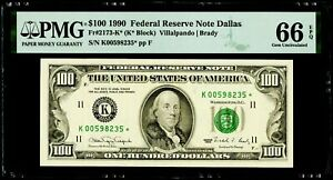 $100 1990 Federal Reserve * Star Note Dallas Fr#2173-K* PMG 66 EPQ Gem UNC.