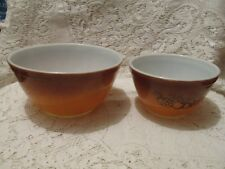 Two Vintage Pyrex Old Orchard Nesting Mixing Bowls 1 1/2 Pint and 1 1/2 Quart
