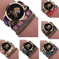 Fashion Women Girl Rhinestone Skull Pattern Leather Quartz Bracelet Wrist Watch