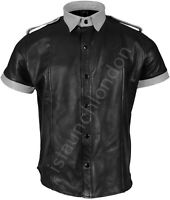 Mens Hot Genuine Real Black Grey Sheep LEATHER Uniform Shirt BLUF Gay KinK