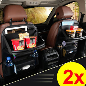 2pcs Leather Car Seat Back Organiser Storage Bag Foldable Table Tray Cup Holder
