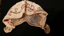 Rare Hand Embroidered Made in Hungary c.1940s Infant or large doll Hat Cap