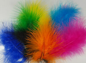 Marabou Feathers Small and Fluffy 20 per Packet Size 10-15cm  38 Colours Listed