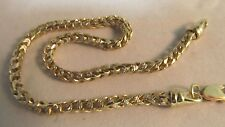 "Solid Yellow and White Gold Box-Link Chain Bracelet-10k. 8.5"" L SAVE $850.  #600"