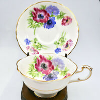 Paragon Warrant Anemone Tea Cup Cracked Saucer Footed Wide Gold England Vintage