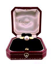 CARTIER 18k Yellow Gold & Pearl Ring w/Box Circa 1994