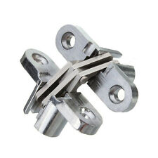 2PCS Hidden Hinge Stainless Steel Invisible Hinges Concealed Wooden Silver TS