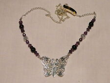 """AMETHYST GEMSTONE NECKLACE, SILVER PLATED BUTTERFLY PENDANT """"NEW"""" AUZ MADE"""