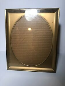 """Vintage 1950s Metal Picture Frame with Oval Mat Opening Matted To Fit 8"""" By 10"""""""