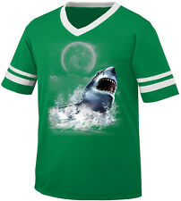 Great White Shark Water Teeth Mouth Full Moon Attack Eat Men's V-Neck Ringer Tee
