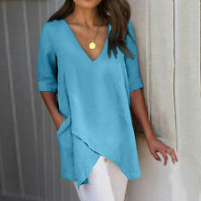 Women Daily Solid Irregular Cotton Top V-Neck Short Sleeve Long Blouse Pocket CA