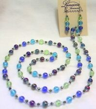 "32"" HAND KNOTTED PURPLE AQUA BLUE LIME GLASS BEADED NECKLACE & EARRING SET"